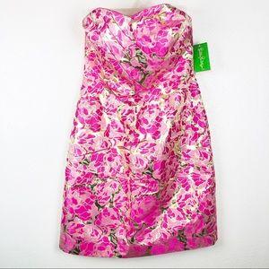 Lilly Pulitzer | Metallic Gold Floral Raya Dress 8